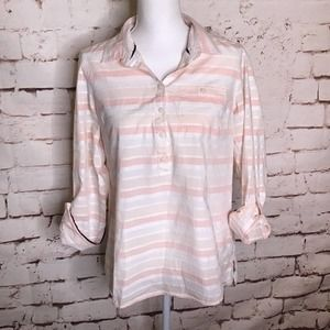 Tommy Hilfiger Striped Shirt Pink and White Medium